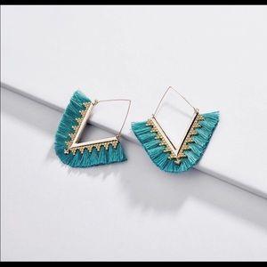 Triangle fringe earrings